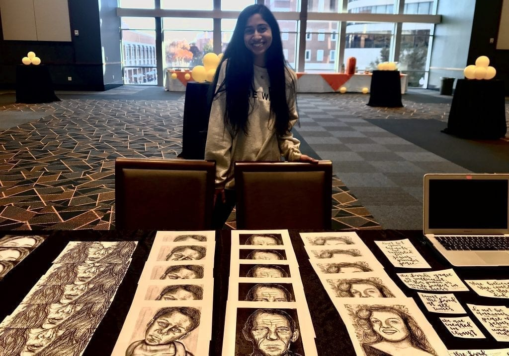 Portraits and calligraphy pieces created by pictures artist Keerthana Duddy. Photo/Myria Pinkston