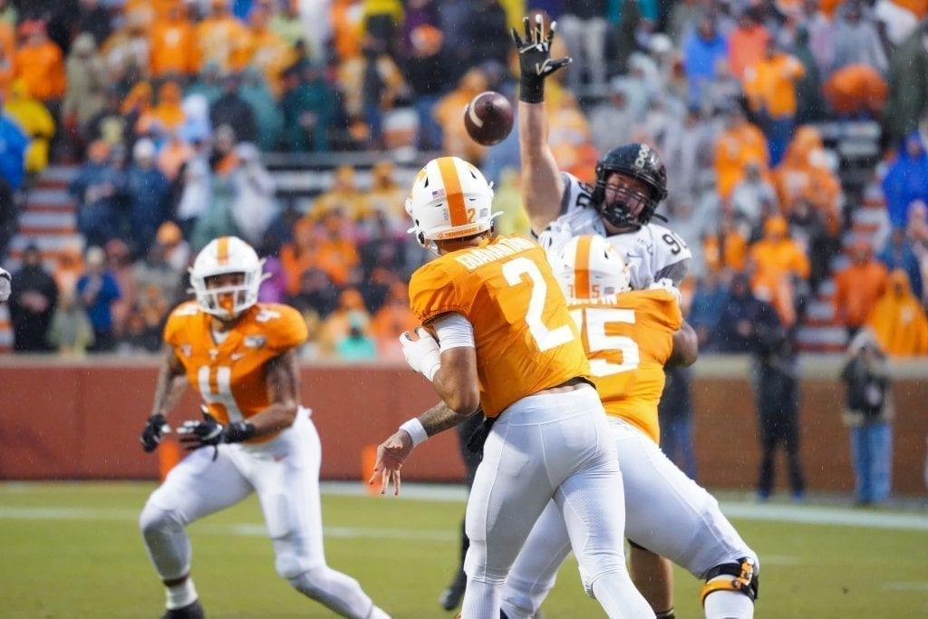 Tennessee quarter back Jarrett Guarantano (2) makes a pass when Tennessee played Vanderbilt on Nov. 30, 2019. Photo/ Ben Gleason