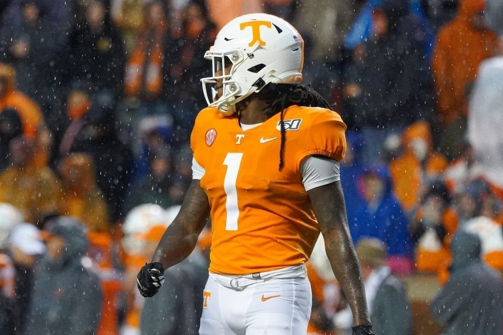 Tennessee wide receiver Marquez Callaway (1) takes the field when Tennessee played Vanderbilt on Nov. 30, 2019. Photo/ Ben Gleason