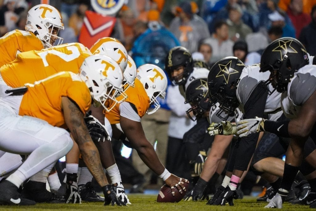 Tennessee and Vanderbilt players line up all on the ball when Tennessee played Vanderbilt on Nov. 30, 2019. Photo/ Ben Gleason