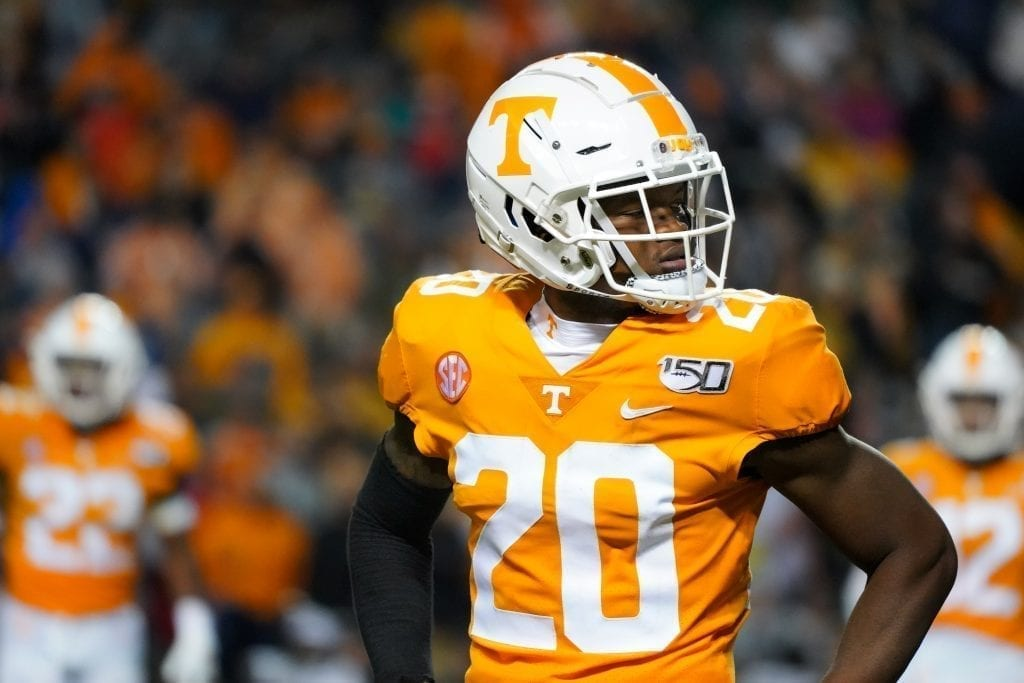 Tennessee cornerback Bryce Thompson (20) when Tennessee played Vanderbilt on Nov. 30, 2019. Photo/ Ben Gleason