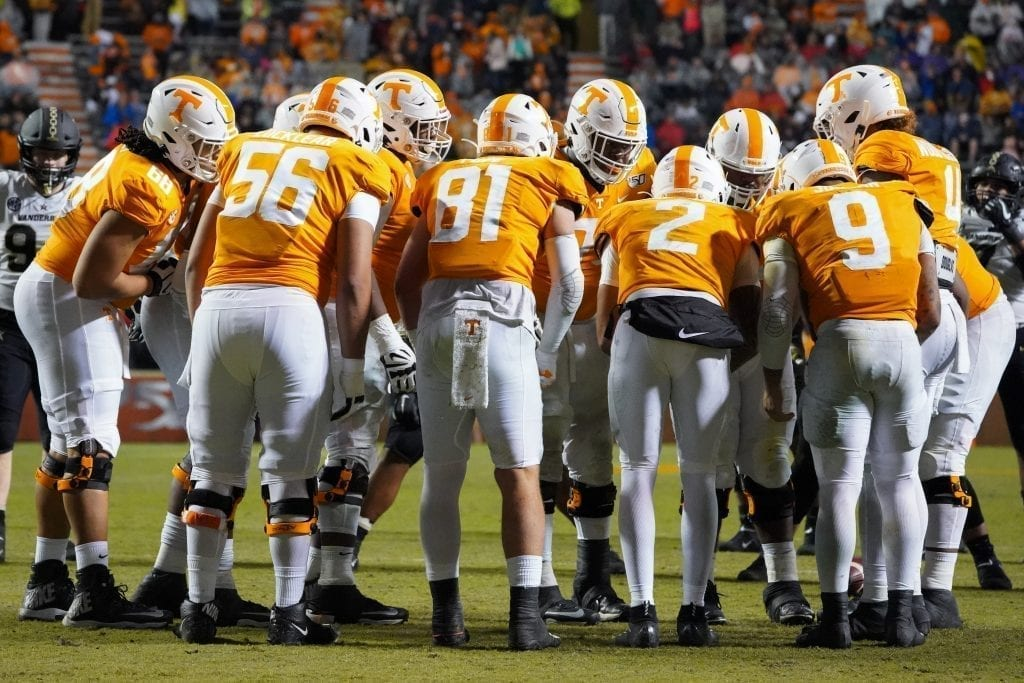 Tennessee's offense huddles up when Tennessee played Vanderbilt on Nov. 30, 2019. Photo/ Ben Gleason