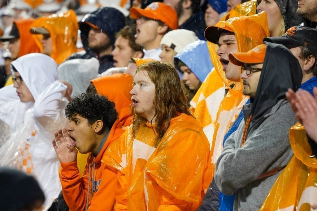 Tennessee fans in the rain when Tennessee played Vanderbilt on Nov. 30, 2019. Photo/ Ben Gleason