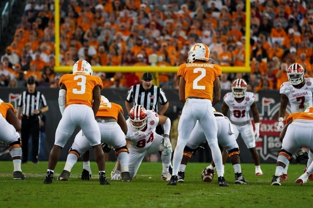 Tennessee quarterback Jarrett Guarantano (2) stands next to running back Eric Gray (3) when Tennessee played Indiana in the Tax Slayer Gator Bowl on Jan. 1, 2020. Photo/ Ben Gleason
