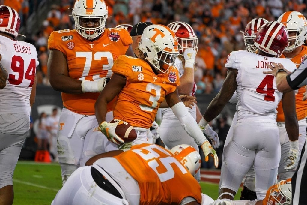 Tennessee running back Eric Gray (3) gets up after a run when Tennessee played Indiana in the Tax Slayer Gator Bowl on Jan. 1, 2020. Photo/ Ben Gleason