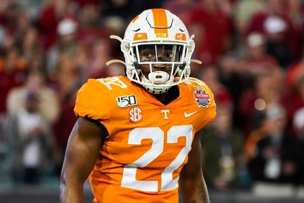 Tennessee defensive back Jaylen McCollough looks toward the sideline when Tennessee played Indiana in the Tax Slayer Gator Bowl on Jan. 1, 2020. Photo/ Ben Gleason