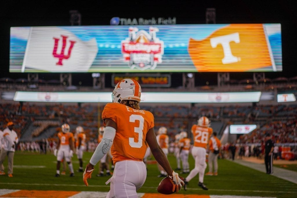 Tennessee running back Eric Gray (3) pregame when Tennessee played Indiana in the Tax Slayer Gator Bowl on Jan. 1, 2020. Photo/ Ben Gleason