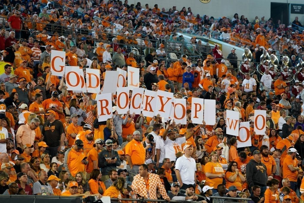 Tennessee fans hold up letters in the stands when Tennessee played Indiana in the Tax Slayer Gator Bowl on Jan. 1, 2020. Photo/ Ben Gleason