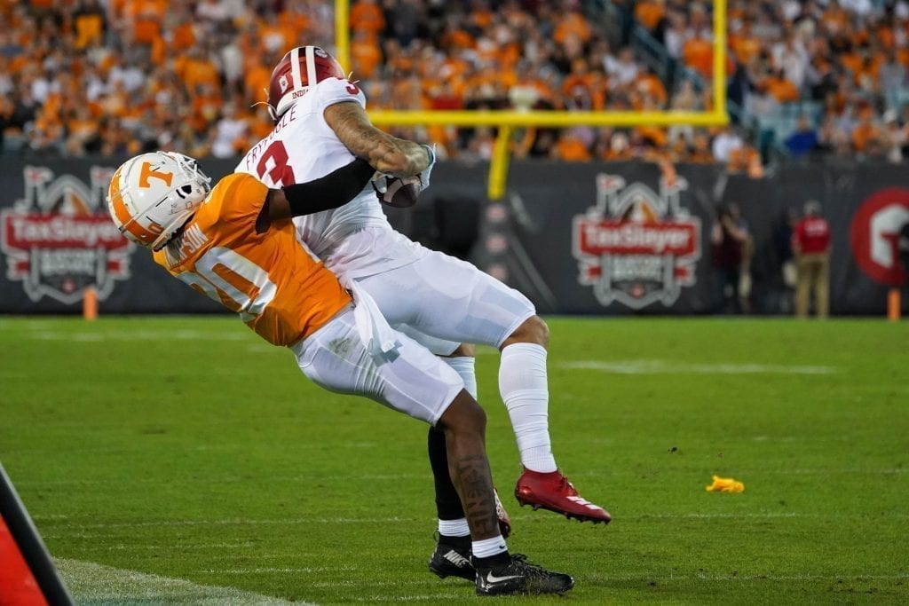 Tennessee cornerback Bryce Thompson (20) tackles an Indiana ball carrier when Tennessee played Indiana in the Tax Slayer Gator Bowl on Jan. 1, 2020. Photo/ Ben Gleason