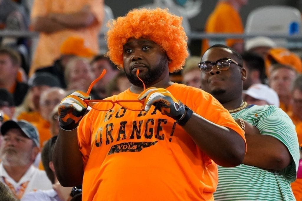 A Tennessee fan reacts during the game when Tennessee played Indiana in the Tax Slayer Gator Bowl on Jan. 1, 2020. Photo/ Ben Gleason