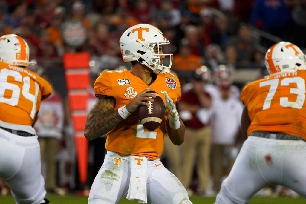 Tennessee quarterback Jarrett Guarantano (2) drops back to pass when Tennessee played Indiana in the Tax Slayer Gator Bowl on Jan. 1, 2020. Photo/ Ben Gleason