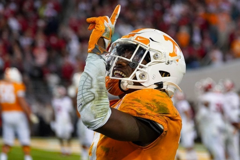 Tennessee running back Eric Gray (3) celebrates after a touchdown run when Tennessee played Indiana in the Tax Slayer Gator Bowl on Jan. 1, 2020. Photo/ Ben Gleason