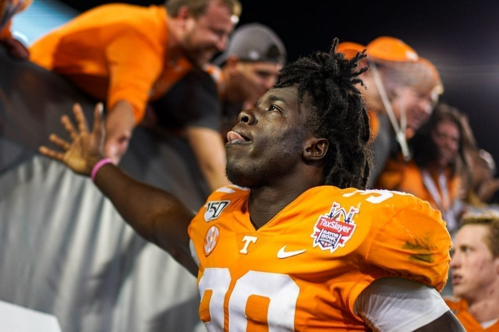 Tennessee linebacker Roman Harrison (30) celebrates after the game when Tennessee played Indiana in the Tax Slayer Gator Bowl on Jan. 1, 2020. Photo/ Ben Gleason