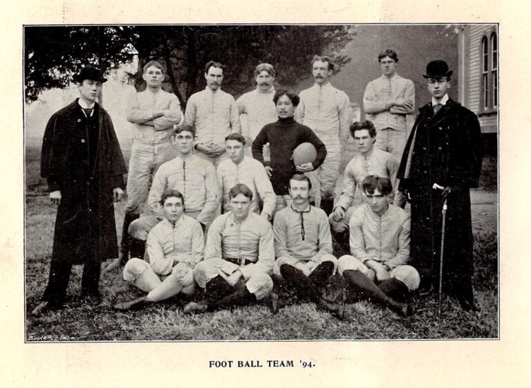 Maryville College's first football team. Takahashi pictured center, in black. (Courtesy of the Maryville College Archives)
