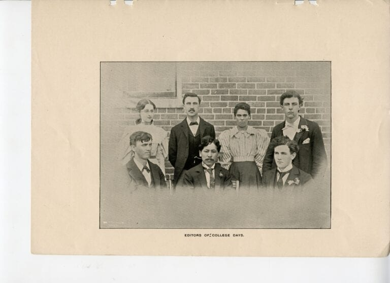 Takahashi with his fellow staff of the College Days student newspaper. (Courtesy of Maryville College Archives)